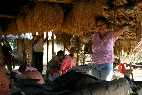 A year's supply of rice hanging in a traditional rural home in the Montes de Maria.