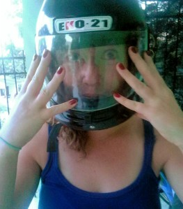Nails done, helmet on.